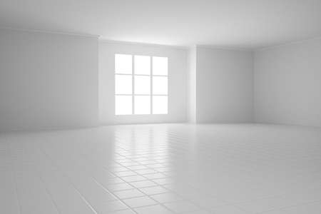 floor covering: Empty white room with square windows and tiled floor