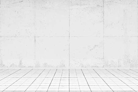 Empty white room with tiled floor and concrete wall