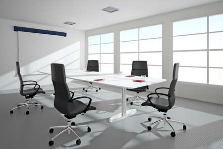 Bright office with windows ande conference table photo