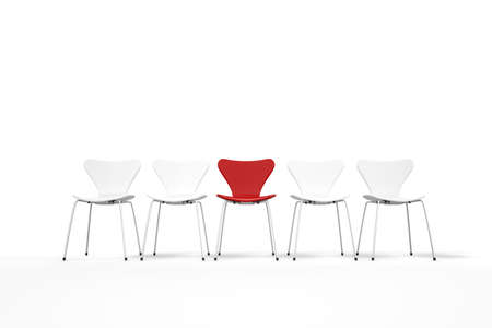 exceptional: Unique concept with red and white chairs standing in row