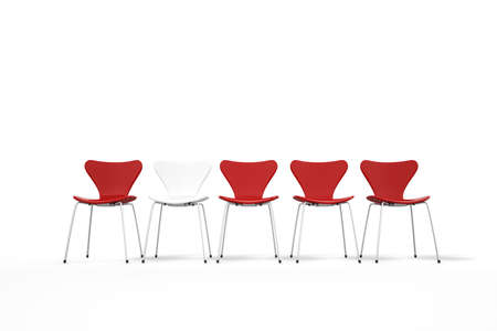centred: Unique concept with red and white chairs standing in row
