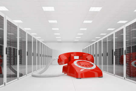 Red telephone in datacentre for cloud hotline