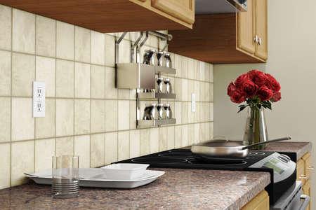 Küche Interieur Nahaufnahme mit roten Rosen und Gerichte Lizenzfreie Bilder