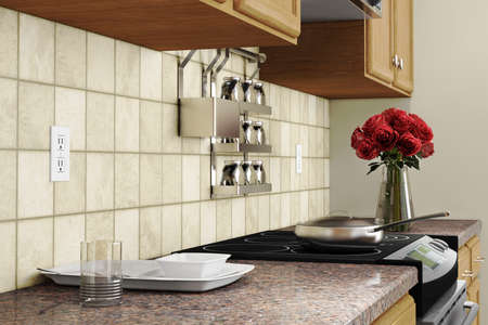 Kitchen interior closeup with red roses and dishes Stock Photo