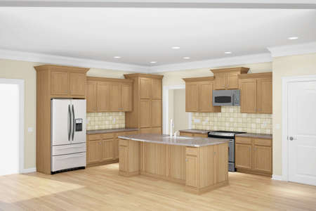 kitchen countertops: Kitchen interior wide angle with sun light