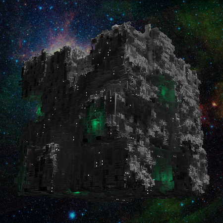 space ship: Space ship cube with galaxy background and green lights Stock Photo