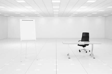modern office space: White office room with flipchart and black chair Stock Photo
