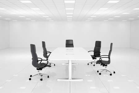 White office room with table and chairs for conference Banque d'images