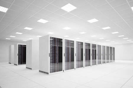 Data Center with 4 rows of servers and white floor photo
