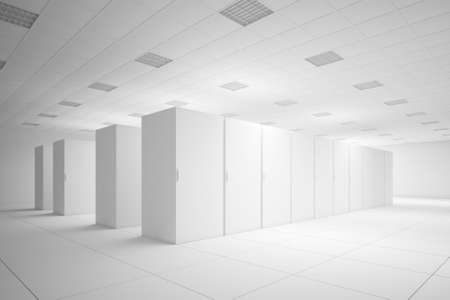 White server room with no texture for layouts