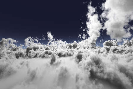 recedes: 3D Clouds in an aerial view with blue sky Stock Photo