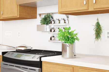 Kitchen interior closeup with herbs and dishes photo