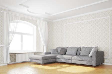Minimal Wohnzimmer mit Couch und weißen Vorhängen