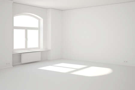 unfurnished: White room with window and sunbeam as template