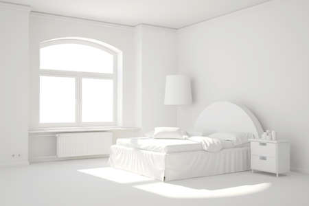 Empty white bed room with window and curtain minimal template photo
