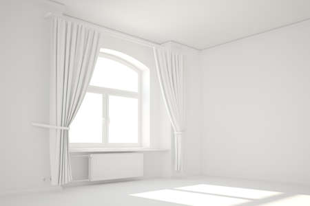 Empty white room with window and curtain minimal template