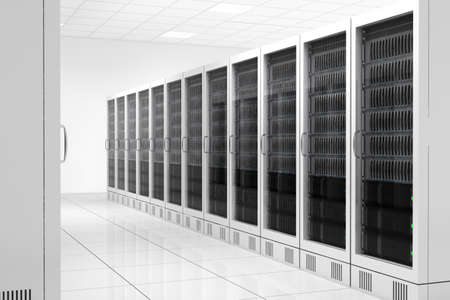 bandwith: Datacenter with two rows of computers in white room