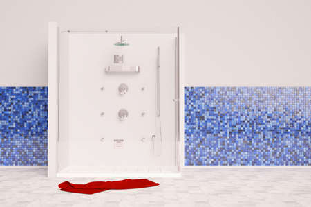 cabine de douche: Big vue douche frontale avec une serviette rouge