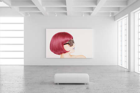 Empty exhibition hall with picture of a woman and concrete floor photo