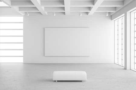 beursvloer: Lege tentoonstellingsruimte met lege frame en betonnen vloer Stockfoto