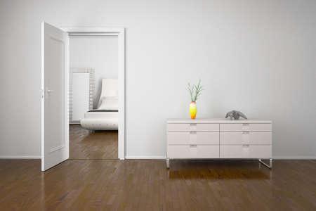 cassettiera: Interni con la porta aperta e la cabina con la decorazione