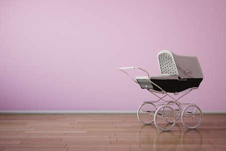 Baby stroller on pink wall with wooden floor Standard-Bild