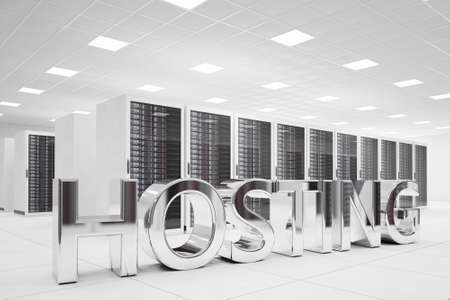 datacentre: Hosting Letters in data center made of chrome Stock Photo