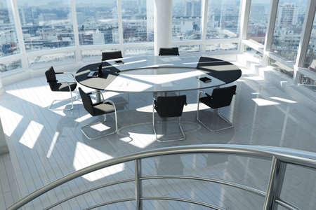 corporate meeting: Modern office with many windows and city landscape Stock Photo