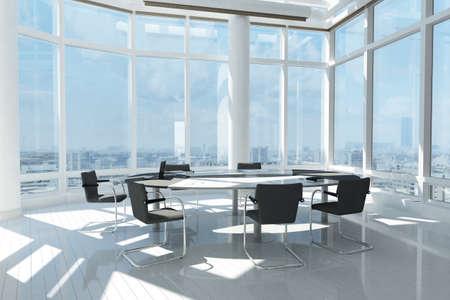 많은 창 및 도시의 풍경과 현대적인 사무실