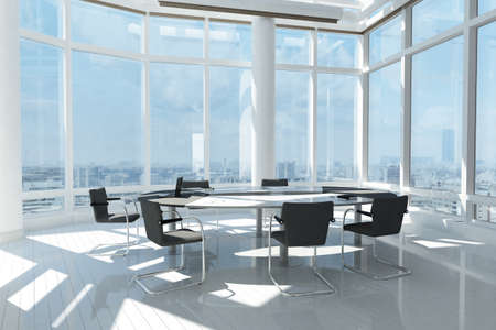 office window view: Modern office with many windows and city landscape Stock Photo