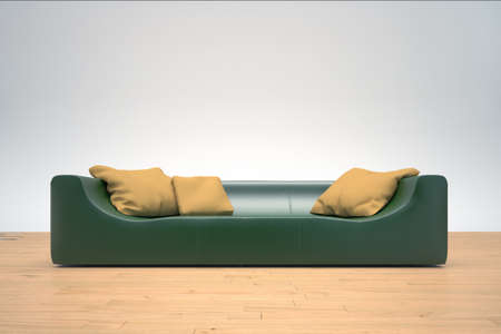 Green Sofa on hardwood floor with yellow cushions 版權商用圖片