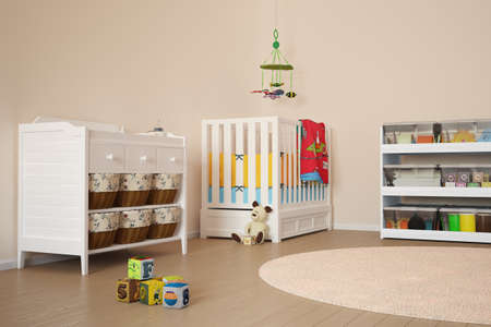 nursery room: Children room with toys and small bed
