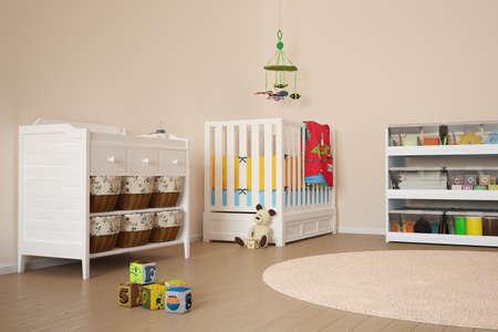 vivero: Sala de niños con juguetes y una cama pequeña Foto de archivo