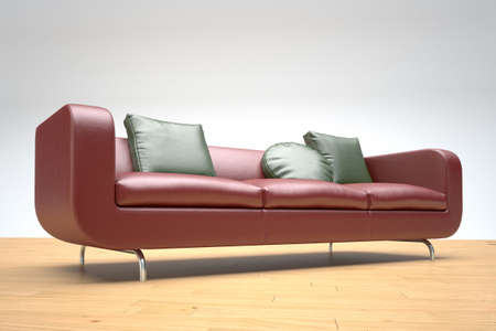 Red leather sofa on wooden foor and white background