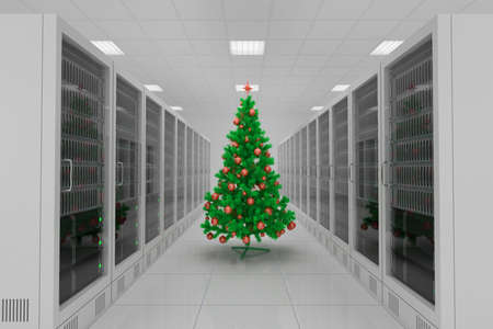 Data center with christmas tree and many servers