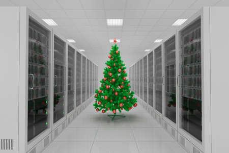 Rechenzentrum mit Weihnachtsbaum und viele Server Standard-Bild - 24370646