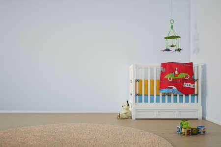 아이는 침대와 다른 장난감 놀이방
