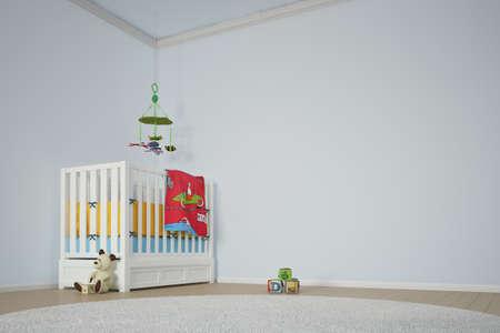 아이들은 침대와 다른 장난감으로 방을 재생