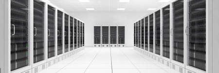 白い部屋のコンピューターの 2 つの行を持つデータ センター