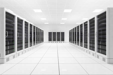 Datacenter with two rows of computers in white room