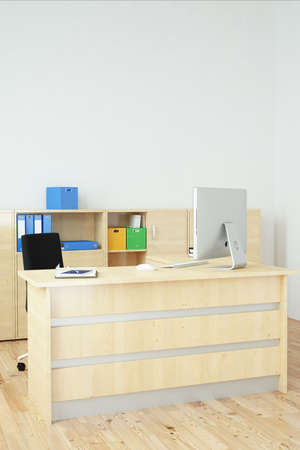 Modern office with wooden furniture and desk