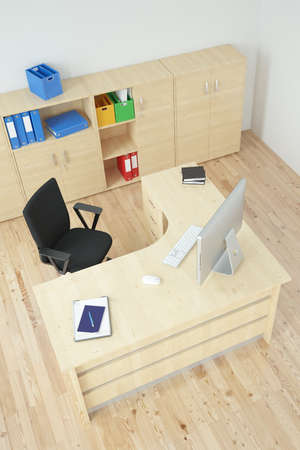 Modern office with wooden furniture and desk Stock Photo - 24936082
