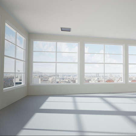 unfurnished: Empty modern office room with urban skyline