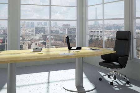 Empty modern office room with urban skyline