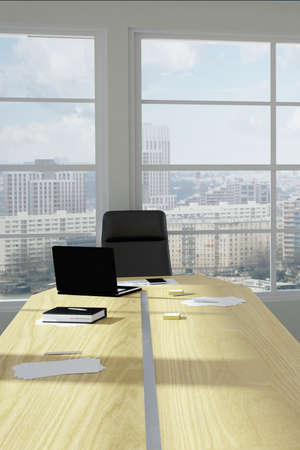 Empty modern office room with urban skyline Stock Photo - 24936120