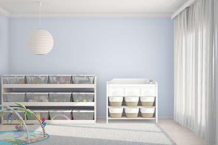 장난감과 작은 침대가있는 어린이의 객실