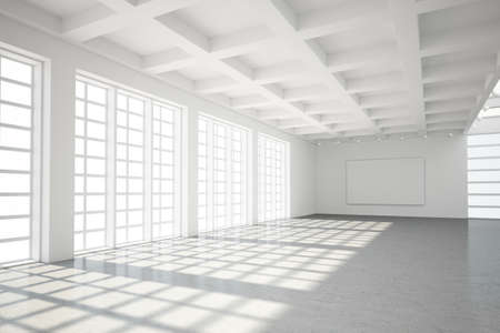 commercial: Empty modern loft with concrete floor and big Windows