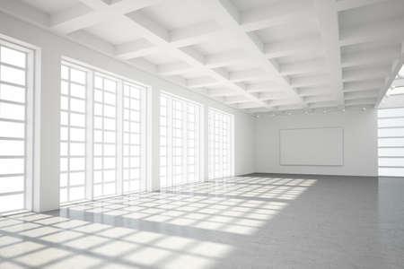 comercial: Moderno loft vacío con el suelo de cemento y grandes ventanales Foto de archivo