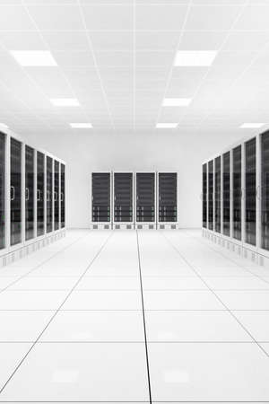 data center with two rows of computers in white room 版權商用圖片