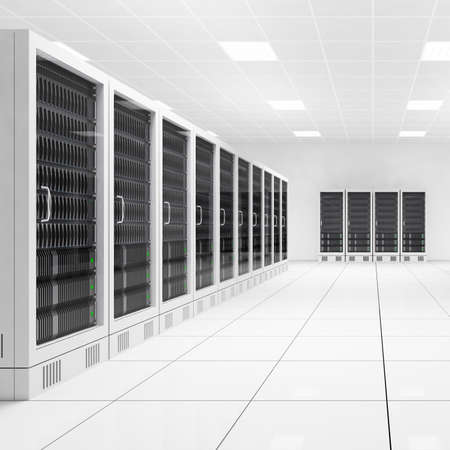 Datacenter with two rows of computers in white room photo